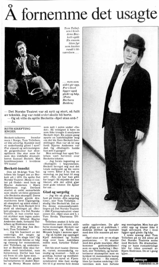Fjernsynsteatret 10 mai 1988 Tom Tellefsen