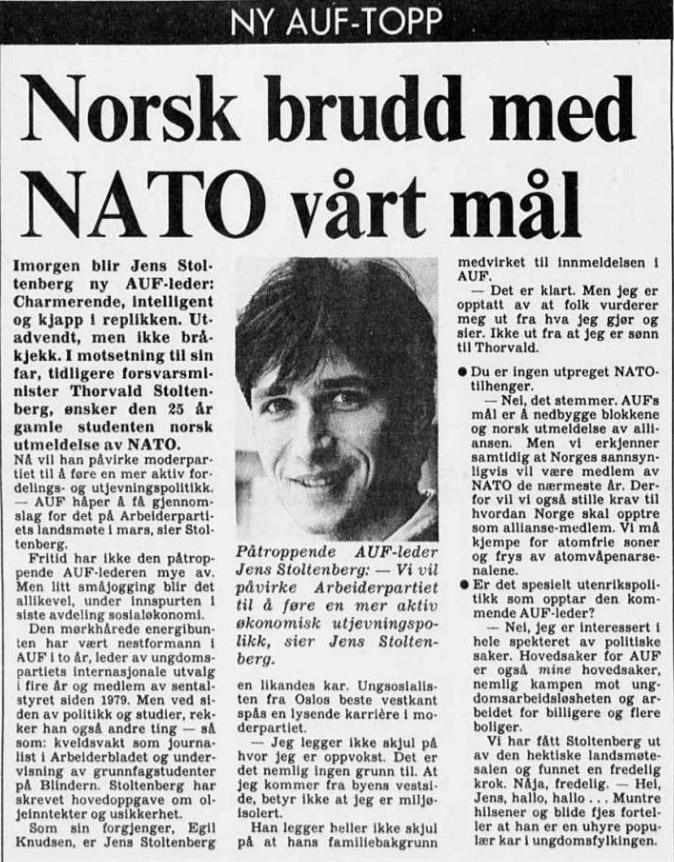 Stoltenberg 1985 nei til Nato