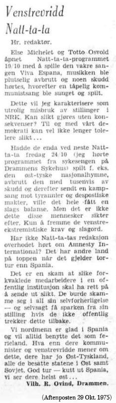 Else Michelet - leserbrev natata okt 1975
