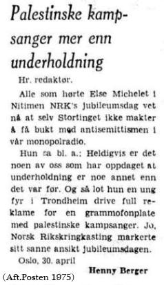 Else Michelet - leserbrev ni-timen mai 1975