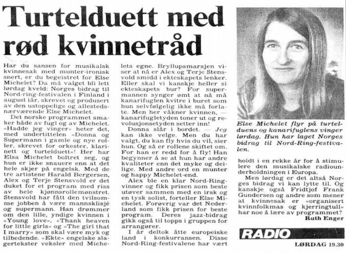 Else Michelet Nordring-festival Hadde jeg vinger 19 sep 1980