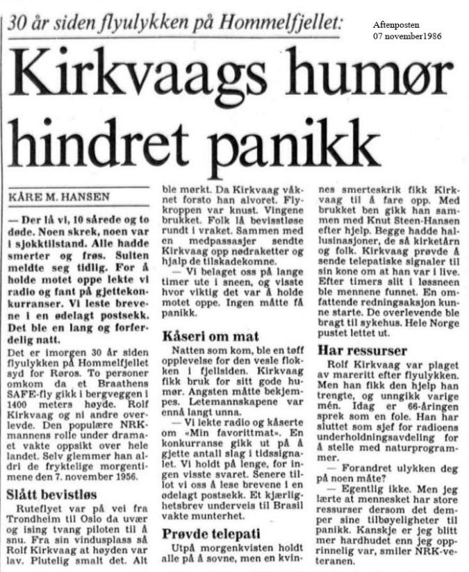 NRK ulykke aft posten 1986