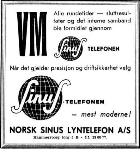 1959 Skøyter annonse Sinus
