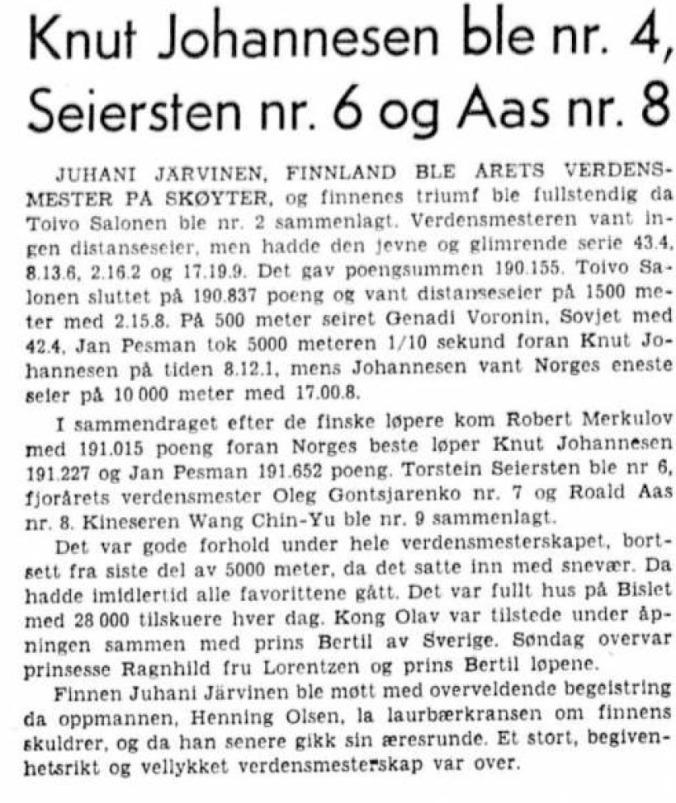 1959 Skøyter Bislet VM 2