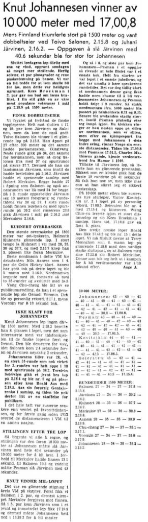 1959 Skøyter Bislet VM oppsummering 10 000 meter