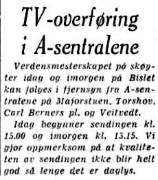 1959 Skøyter Fjernsynssending aftenposten 14 februar  2