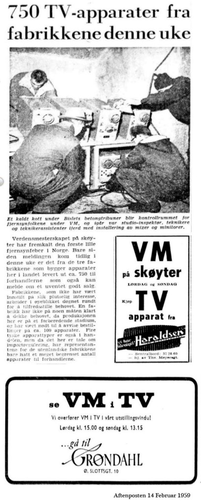 1959 Skøyter Fjernsynssending aftenposten 14 februar