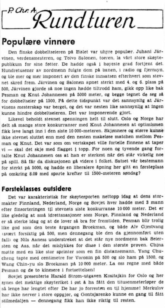1959 Skøyter VM Bislet P Chr