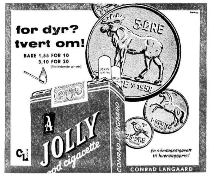 Reklame Jolly Sigaretter 1959