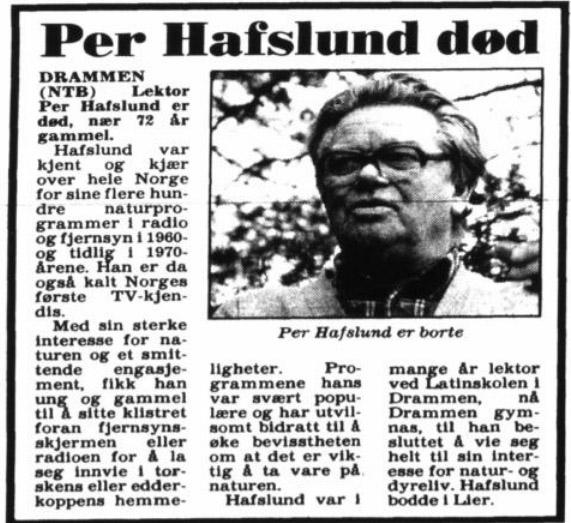Per Hafslund død vg 5 mai 1990