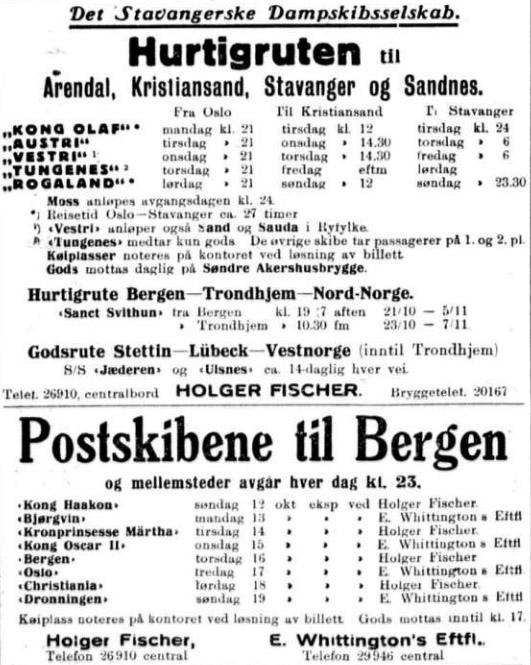 Sigurd Hoel annonse aft pos 111030 båt