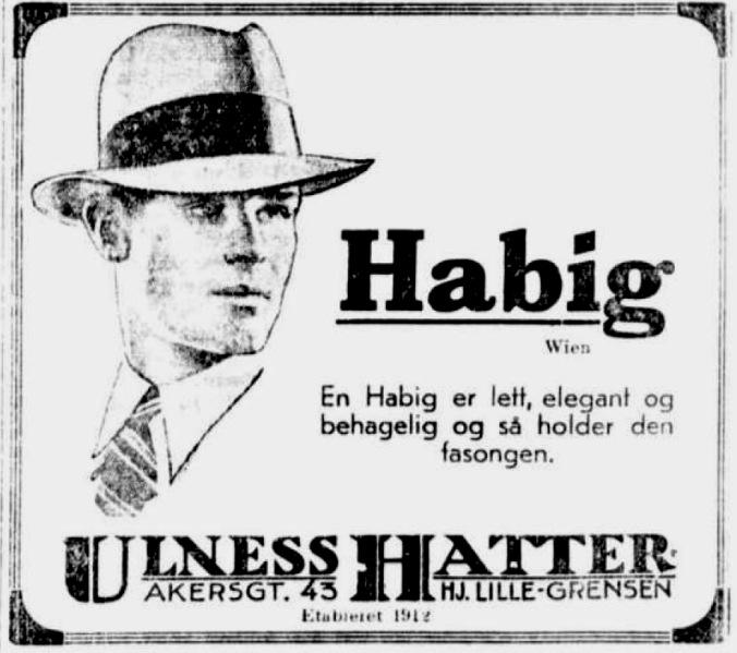 Sigurd Hoel annonse hatt