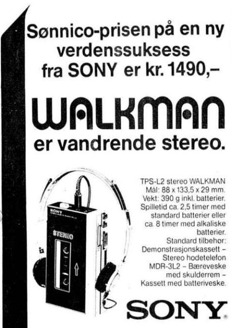 1981 04 22 Walkman reklame 1