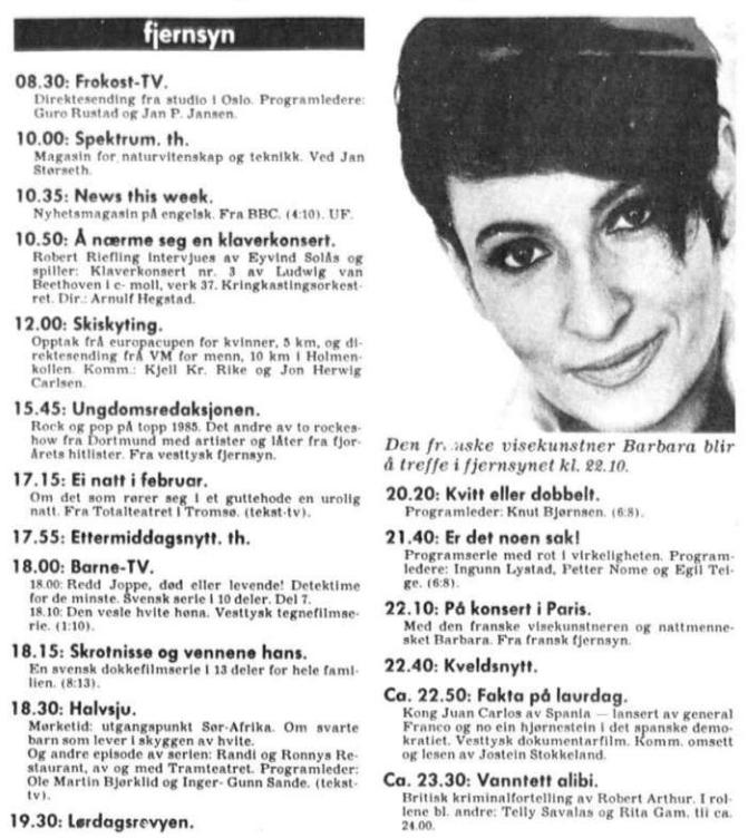 nrk tv prg 22 feb 1986