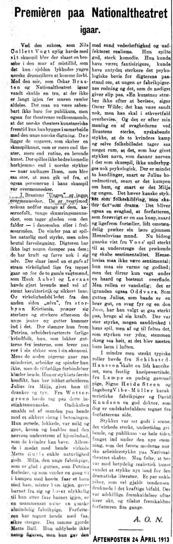 Ungen anmeldelse premiere 1913